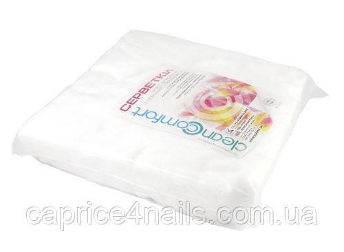 Серветки одноразові спанлейс 20х20, упаковка, гладка, 40 г/м2, Clean Comfort