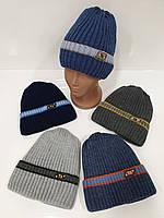 Подростковые вязаные шапки на флисе оптом для мальчиков, р.50-52, Ambra (Польша)