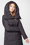 Модный длинный женский пуховик с объёмным воротником, матовый черный, фото 2
