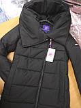 Модный длинный женский пуховик с объёмным воротником, матовый черный, фото 5