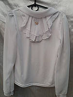 Блуза жабо длиный рукав для девочки 5-10 лет, фото 1