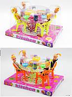 """Меблі для ляльок (кукол) типу """"Барбі"""" A8-55 (48шт/2) 2 види, з ляльками, з посудом, під слюдою 23*17 см"""