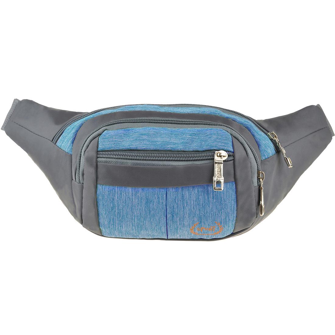 Сумка на пояс BagHouse тканина нейлон 32х13х8 колір сірий-блакитний ксН-6336гол