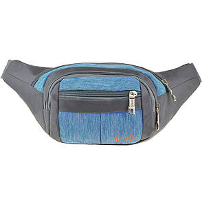 Сумка на пояс BagHouse ткань нейлон 32х13х8 цвет серый-голубой ксН-6336гол, фото 2
