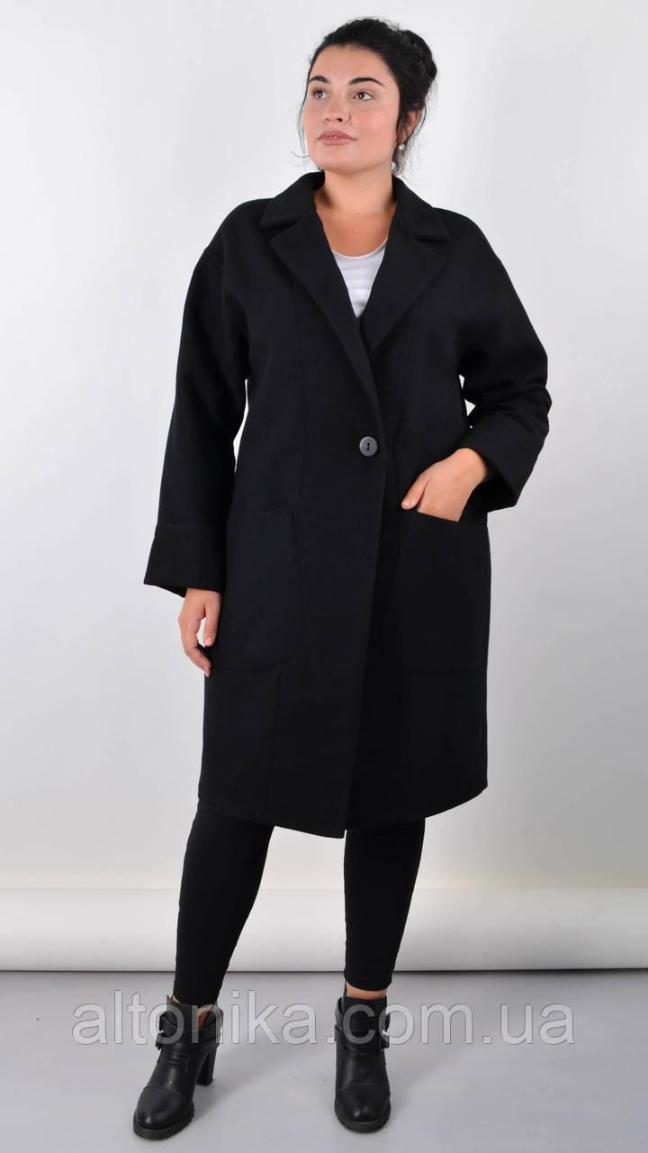 Черника. Стильное пальто плюс сайз. Черный. 50-52, 54-56