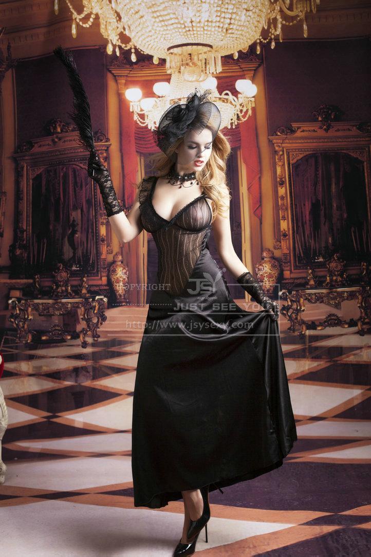 Черное длинное платье S/M