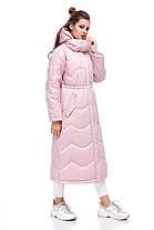 Женское пальто зимнее длинное из плащевки на синтепухе розовое размеры от 42 до 50, фото 2