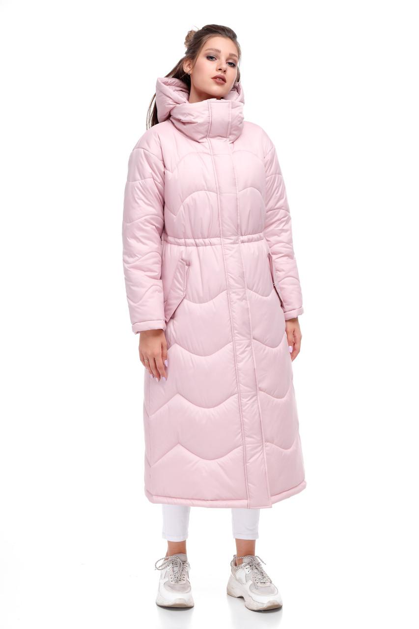 Женское пальто зимнее длинное из плащевки на синтепухе розовое размеры от 42 до 50