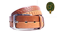 Телячья кожа Тисненая. Пряжка серебристая. Ремень Л35У1Ш25 коричневый