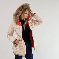 Пуховик полупальто зимний женский Snowimage с капюшоном и натуральным мехом бежевый, длинный