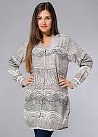 Длинная рубашка (туника), большие р-ры (48-58), с серым принтом