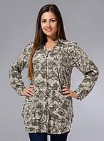 Длинная рубашка (туника), большие р-ры (48-54), с оливковым принтом
