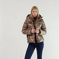Женский пуховик зима Snowimage с капюшоном короткий коричневый, распродажа