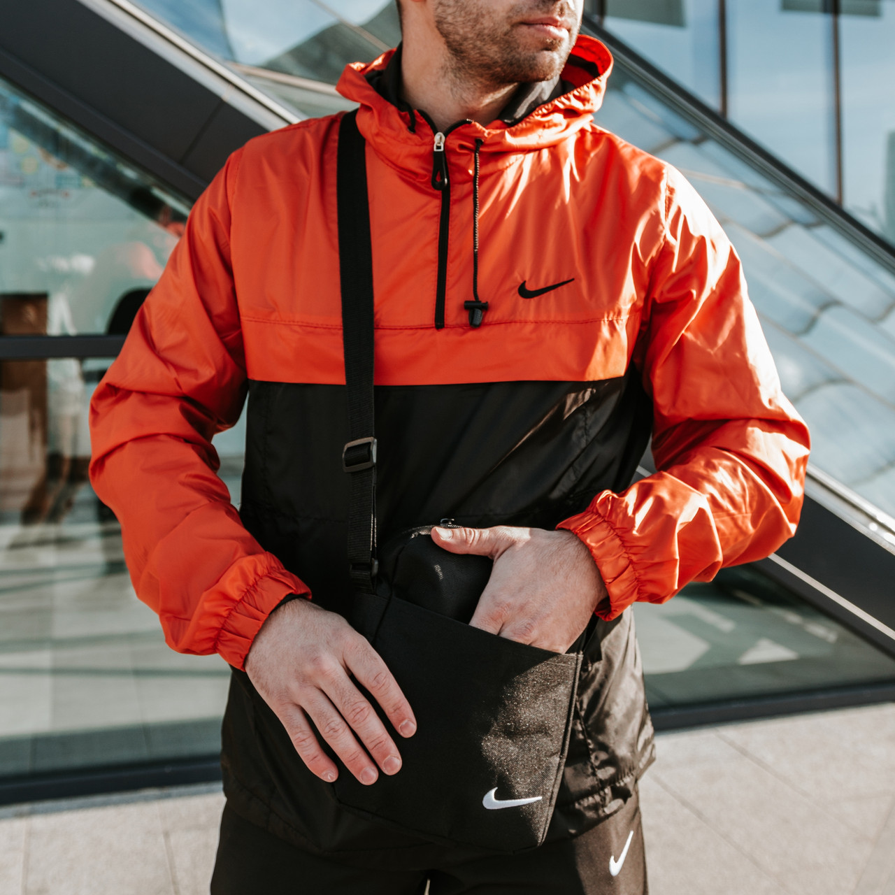 Мужская куртка (весна\осень) - Анорак President оранжевый-черный