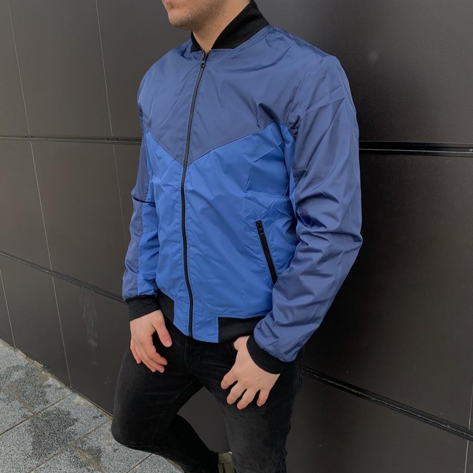 Мужская куртка (весна\осень) - Бомбер синий-темно-синий