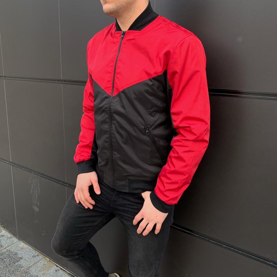 Мужская куртка (весна\осень) - Бомбер крсный-черный