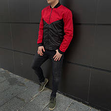 Мужская куртка (весна\осень) - Бомбер крсный-черный, фото 2