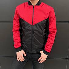 Мужская куртка (весна\осень) - Бомбер крсный-черный, фото 3