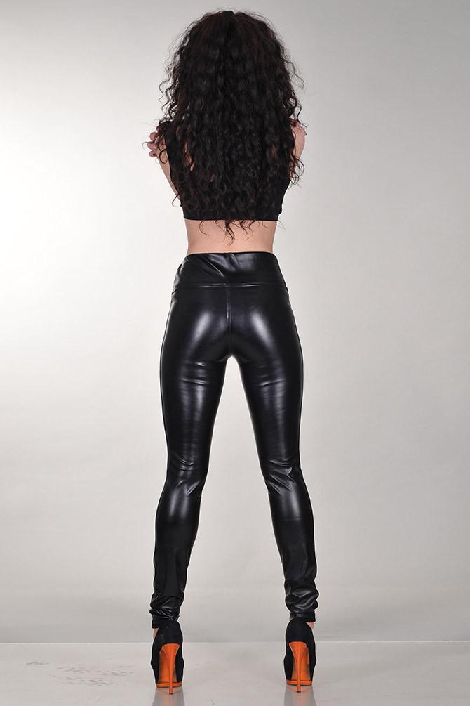 Джеггинсы кожаные утяжка черные на меху
