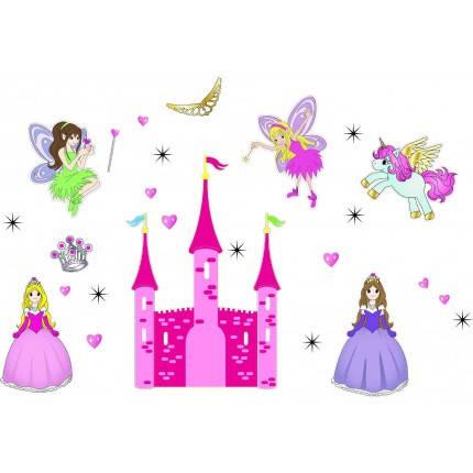 Дизайнерская наклейка Замок с феями, фото 2
