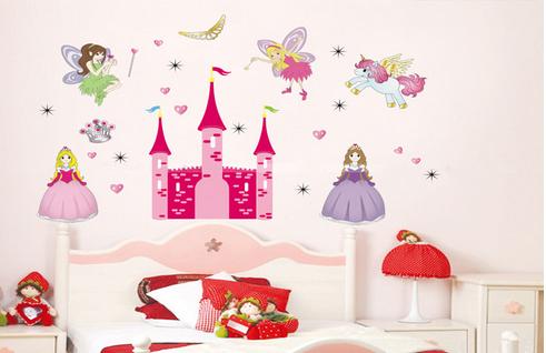 Дизайнерская наклейка Замок с феями