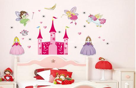 Дизайнерська наклейка Замок з феями, фото 2
