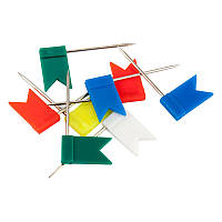 Кнопки-гвоздики цветные флажки 30 шт пласт конт Axent 4215-A