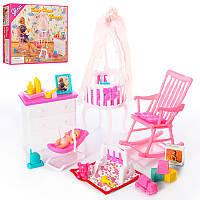 """Мебель для кукол 9929 """"Детская комната для дочки барби"""", трюмо, кресло, детская кроватка, пупс 10 см, Глория."""