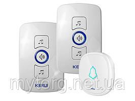 Smart дверной звонок Kerul M 525 беспроводной 2 приемника 1 кнопка 2 ресивера 1 звонок Белый