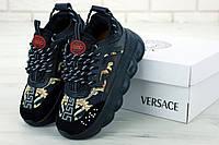 Кроссовки женские на платформе черные осенние стильные Versace Версаче