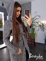 Кардиган женский модный удлиненный букле с капюшоном карманами и поясом Pb189