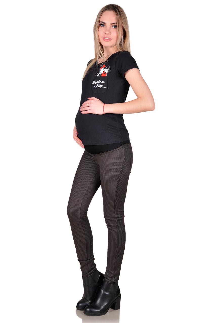 Лосины для беременных черные в мелкую клетку