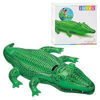 Аллигатор надувной Интекс 58546, с трёхлетнего возраста, игры и плавание в воде, с удобным держателем