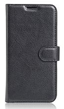 Кожаный чехол-книжка для ZTE Blade V8 черный