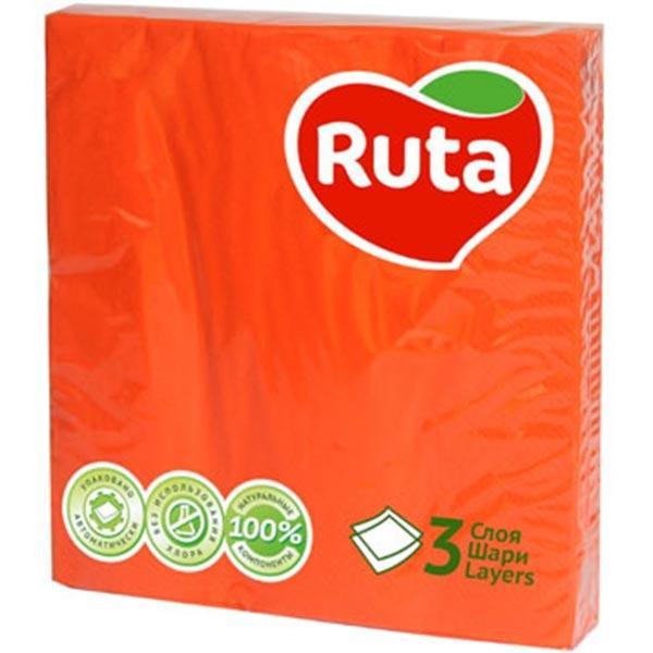 "Серветки ""Ruta"" 33х33 20л 3ш оранжеві"