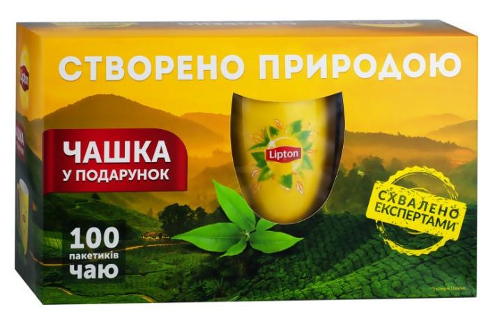 Набор черного чая Lipton 50 пакетиков + чашка в подарок