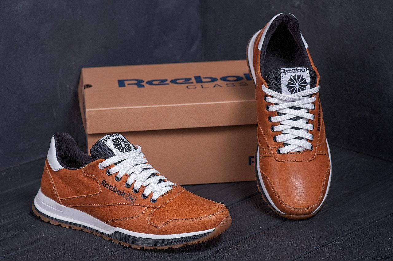 Мужские кожаные кроссовки Reebok Classic brown реплика