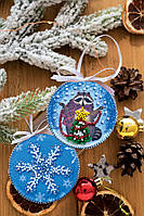 Набор для вышивки новогодней игрушки Енот и Новый год