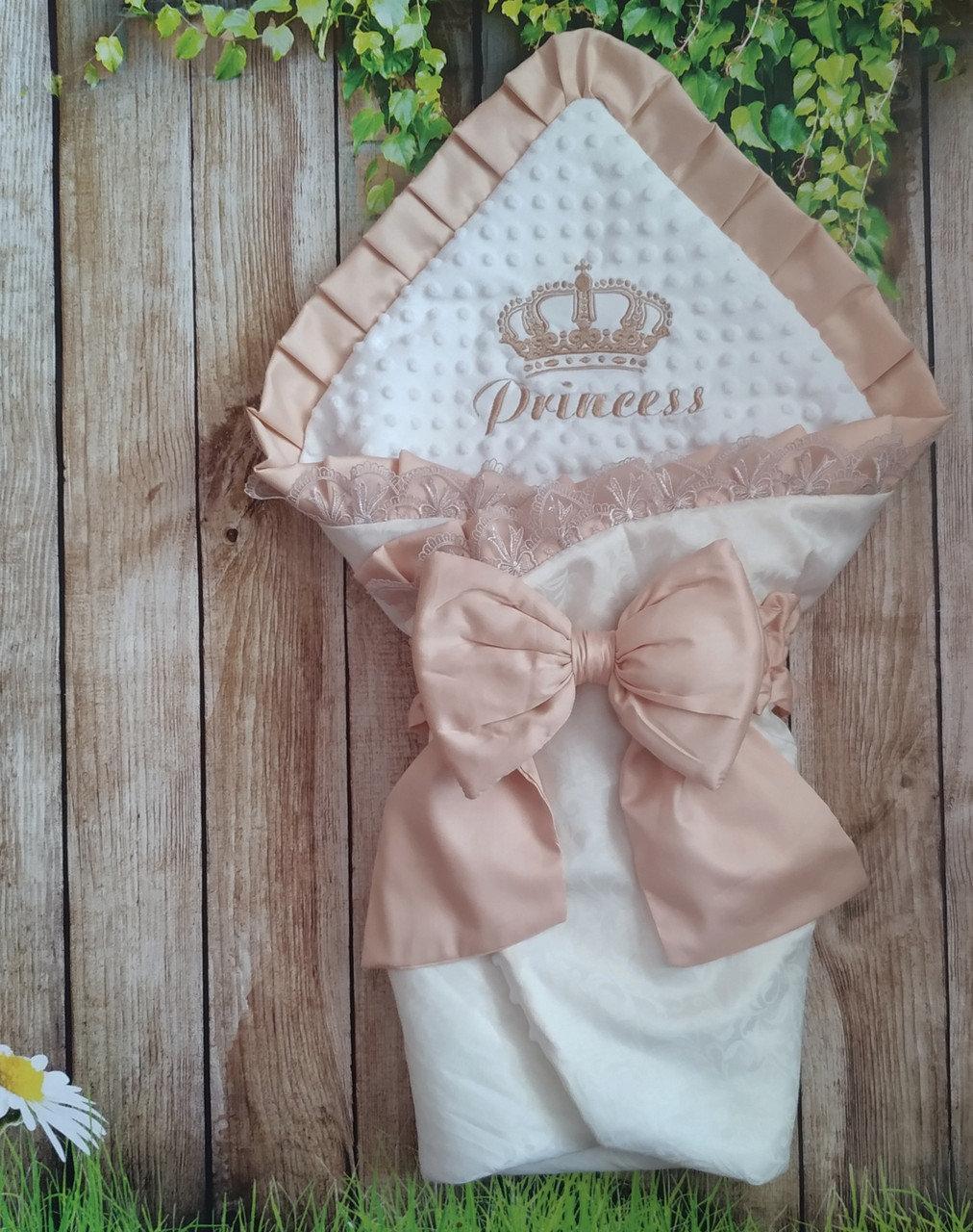 Конверт - плед на выписку и для прогулок  с  вышивкой Принцесса
