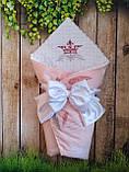 Красивий конверт на виписку з вишивкою і мереживом, утеплений синтепоном, фото 2