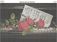Схема вышивки бисером на габардине Красные розы на пианино