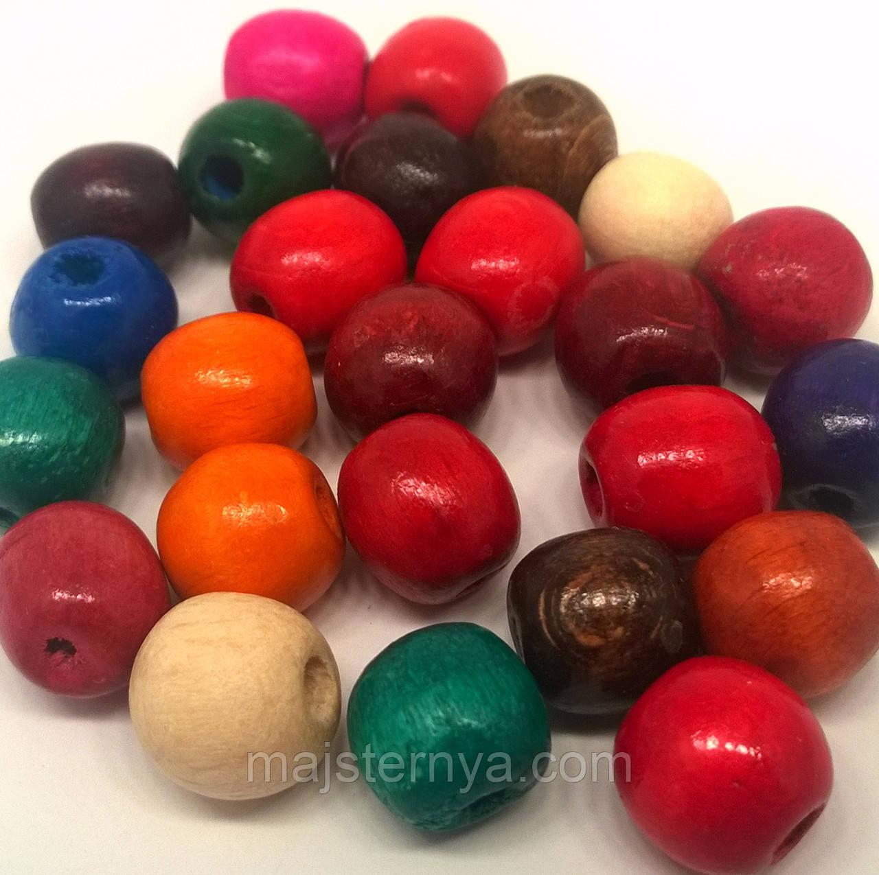 Бусины деревянные 13мм (100шт в упаковке) разных цветов