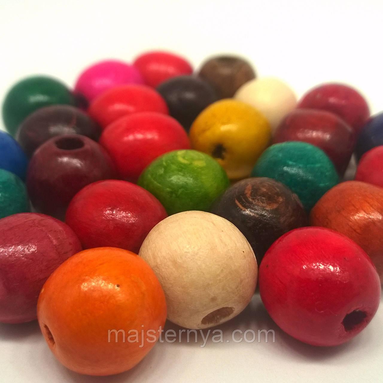 Дерев'яні бусини 1,3см різнокольорові