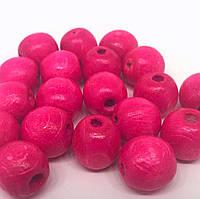 Бусины деревянные 13мм (100шт в упаковке) ярко розового цвета