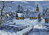 Схема вышивки бисером на габардине Зимний вечер