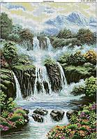 Схема вышивки бисером на габардине Горный водопад