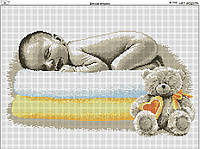 Схема вышивки бисером на габардине Детская метрика
