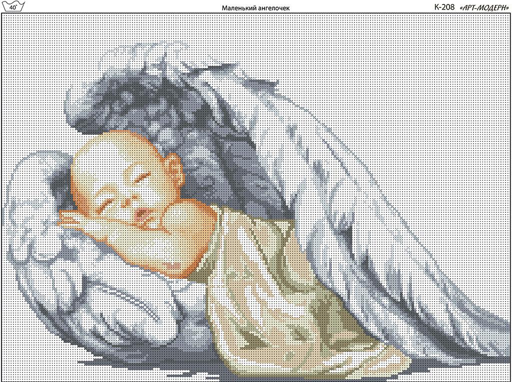 Схема вышивки бисером на габардине Маленький ангелочек