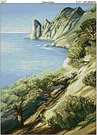 Схема вышивки бисером на габардине Морской берег