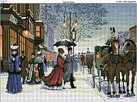 Схема вышивки бисером на габардине Зимняя улица
